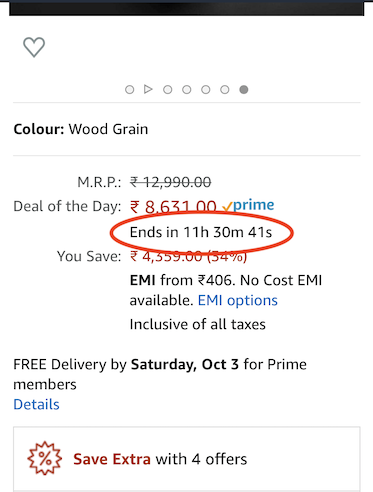 Advert with a count down timer on the sale
