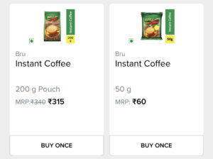 screenshot of 200g and 50g coffee pack with the price