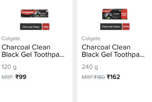 screenshot of 120g and 240g toothpaste pack with the price