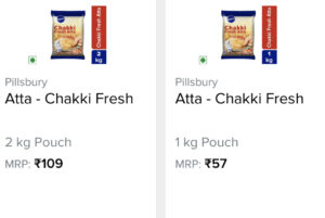 screenshot of 1kg and 2kg wheat flour pack with the price