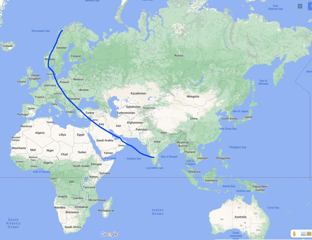 Bangalore to Tromso map